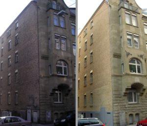 Fassadenreinigung Vorher - Nachher