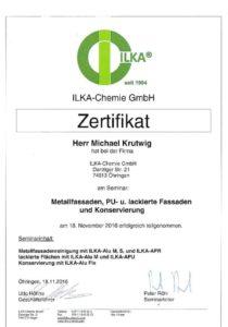 Zertifikat  Metallfassaden, PU und lackierte Fassaden und Konservierung