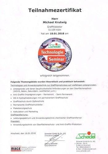 Zertifikat Fassadenreinigung bei der Firma Scheidel